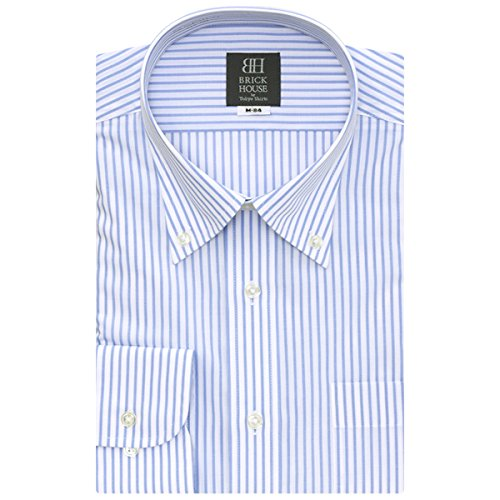 BRICK HOUSE 長袖 ワイシャツ 形態安定 ボタンダウン 白×サックスストライプ BXLB24551Y-11 ブルー M-84
