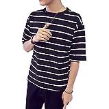 【Smile LaLa】 メンズ Tシャツ 五分袖 半袖 夏 おしゃれ ボーダー Uネック サーフ ゆったり 大きいサイズ