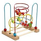 (E&S)木のおもちゃ ローラーコースター カラフルフルーツ型ビーズコースタービーズメイズルーピング 幼児 知育玩具