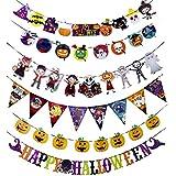Ourine ハロウィン 飾り ガーランド 装飾 6点セット デコレーション 飾り付け インテリア パーティー 写真背景 かぼちゃ *三角旗*円形ドール*文字*ハロウィン (カラー1)