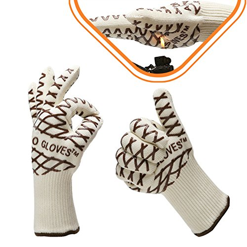 耐熱手袋 鍋つかみ ミトン 厚手, AKPATI 耐熱ミトン オーブンミトン 耐熱 アウトドア 手袋 5本指 耐熱グローブ 業務用 熱くない 断熱グローブ キッチン手袋 料理用 オーブン バーベキュー BBQ 手袋 キッチングローブ