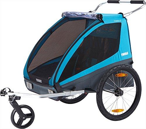 スーリー・コースター・XT<Thule Coaster XT>サイクリング用けん引アーム&ベビーカー用前輪付属(色:スーリー・ブルー) 2人乗り・保育園送迎最適・BURLEY HONEY BEEを意識して設計されたTHULE の戦略モデルです。コスパ優先ながら、アスリートに定評のあるThule ezHitchやHeightRightハンドルバーなどプロ仕様のコンポーネントを搭載しています。