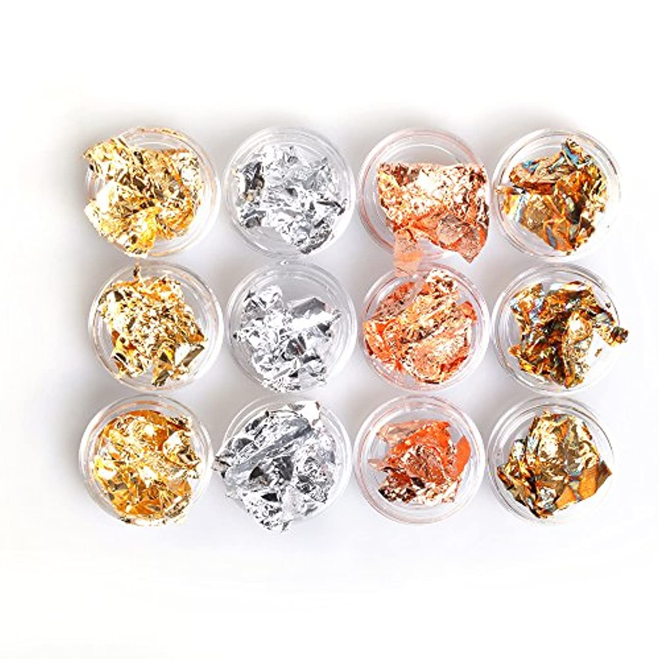 鉱夫赤面購入ネイルパーツ ネイル用品金箔 銀箔 12個入り 4色 ケース付き ネイルパーツ ジェルネイル用品