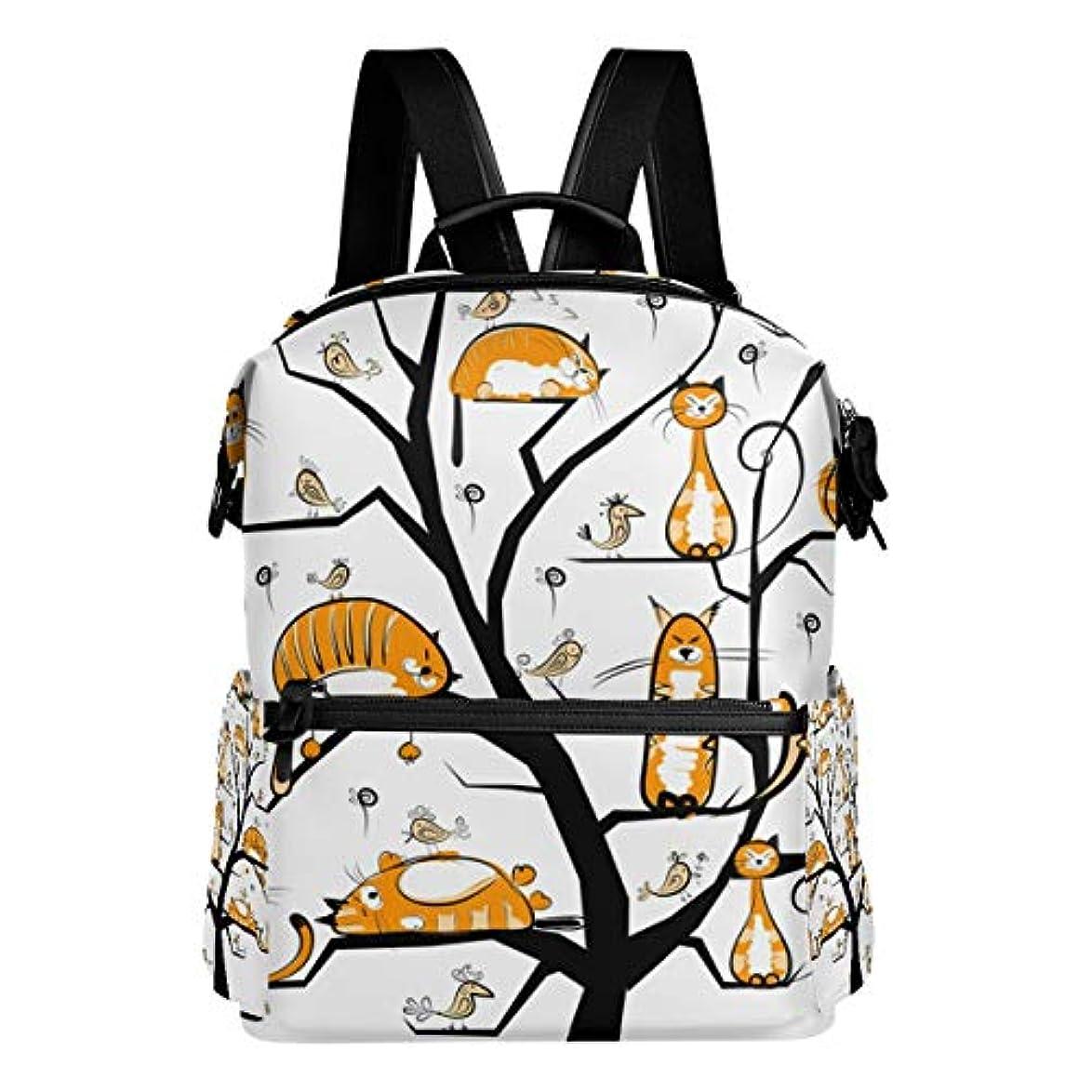 棚ボード魅力的であることへのアピール旅立の店 リュックサック バックパック  木 猫 ポリエステル+レザー ファッション 通勤 通学