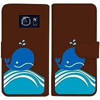 sslink SC-05G Galaxy S6 ギャラクシー 手帳型 ブラウン ケース くじら クジラ マリン ダイアリータイプ 横開き カード収納 フリップ カバー