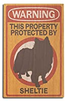 Sheltie–警告 10 x 15 Wood Sign LANT-85414-10x15W