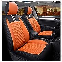カーシートカバー、フロント&リア5シートフルセットユニバーサルレザーフォーシーズンズパッド対応エアバッグシートプロテクター防水。 (色 : Orange)