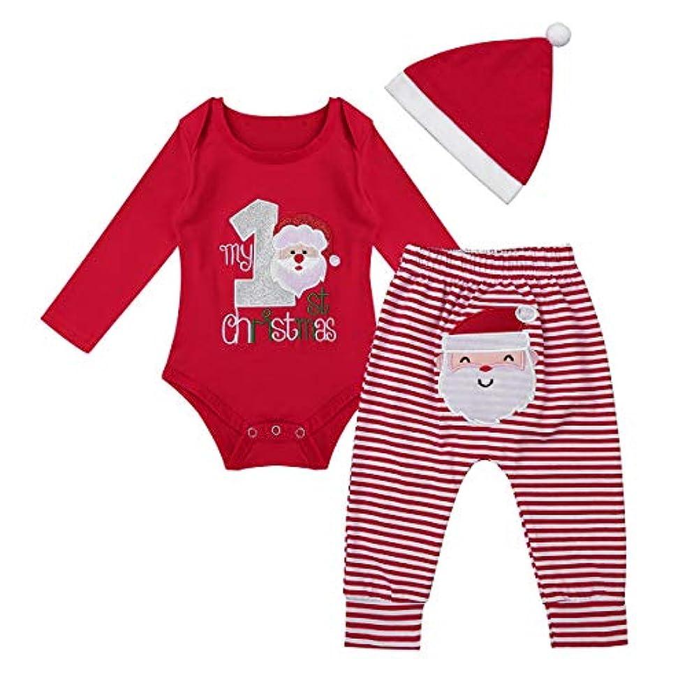 商人火山農学(アゴキー) Agoky 新生児 ベビー 男の子 女の子 長袖 1歳 誕生日 ロンパース クリスマス サンタクロース コスチューム パンツ サンタ帽子 3点セット レッド 80
