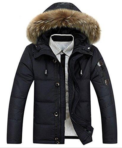 SGFY 冬服 新品 メンズ コート アウター ダウンジャケット ファー帽子付き 厚地 (M, ブラック)