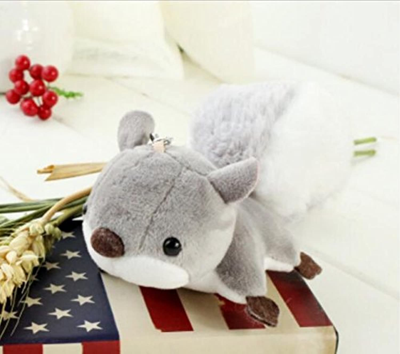 HuaQingPiJu-JP ふわふわの動物のぬいぐるみリスおもちゃの装飾ぬいぐるみソフトおもちゃ14cm(ブラウン)
