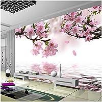 Xbwy ロマンチックな桃の花反射写真壁画壁紙ダイニングルームリビングルームホームデコ-250X175Cm