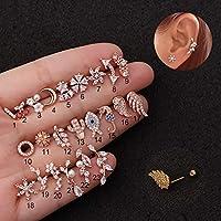 Gxbld-yy 1PCシルバー/ゴールドステンレススチールクリスタルジルコン軟骨耳のピアスのCz耳珠ヘリックスローブスクリューバックスタッドピアス (色 : 銀, サイズ : 4)