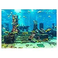 水族館の背景、3D効果接着剤シーワールドポスタースタイルpvc接着剤の装飾紙のステッカー紙の固執デカール(61*41cm)