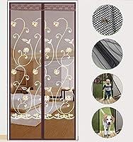 刺繍 磁気スクリーンドア,超静かなストライプ暗号化 ドアフライスクリーン 抗蚊のバグペットと子供のエントリフレンドリー-d 80x190cm(31x75inch)