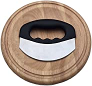 Checkered Chef Mezzaluna Chopper with Cutting Board Set - Rocker Knife - Mincing Knife with Cover and Herb Board - Round Woo