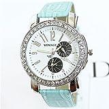 (オンラインで購入しやすいです) BUYEONLINE レディーズニードルダイヤモンドカジュアル腕時計 ブルー