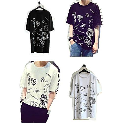 【ARINCO】 おもしろ イラスト Tシャツ カットソー メンズ オシャレ カッコイイ 個性的 カジュアル ゆったりサイズ 夏 半袖 サイズ M L XL 大きい サイズ (ホワイト, L)