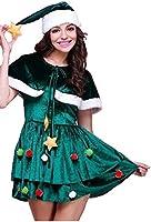 クリスマスツリー ワンピース 帽子 ケープ付き コスチューム グリーン レディース フリーサイズ