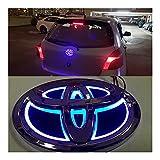 車のフロントフードエンブレム 5D車LEDバッジエンブレムライトToyota Yaris Rav4 Crougher Highlander Chr Camry Prius Reiz Avensis Corolla EZ Alphard Vios Prado アップリケ (Color Name : Blue, Style : 10X6.8cm)