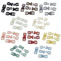 人形用 接続ベルト 人形リュックのバックル ドール服の材料 6x16mm 穴径4mm プラスチック サイドリリースバックル 10色 各4個 合計 40個