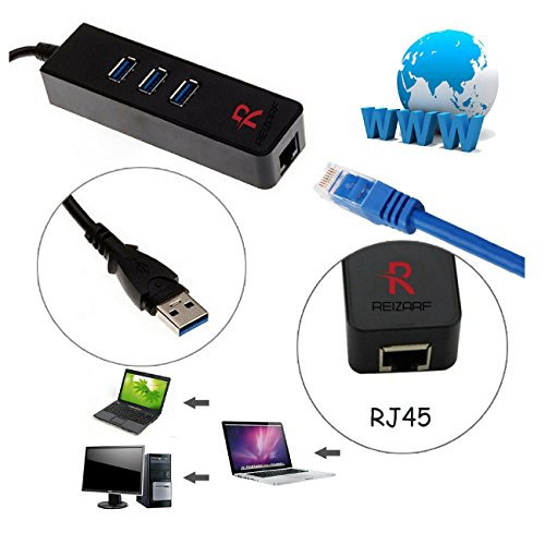reizarf 3 - Port USBハブfor Extra USBポートとギガビットEthernet WiFiが使用できない( rj45ギガビットイーサネット、XP、Vista、win7 / 8 / 10 ( 32 / 64ビット)、Mac OS 10.6 and above , Linux )