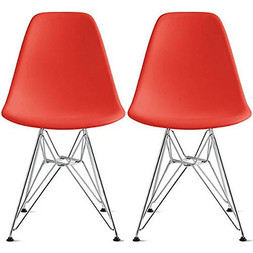 【Hilax】 Eames イームズチェア リプロダクト 2脚セット (レッド/スチール)
