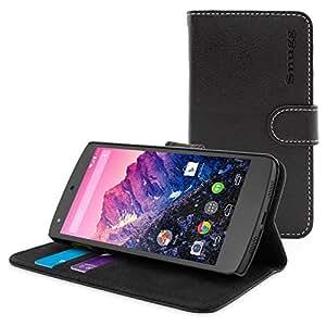 英国Snugg社 Nexus 5 用 PUレザー手帳型ケース 生涯補償付き(ブラック)