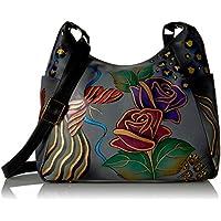 Anna by Anuschka Women's Genuine Leather Large Hobo Bag | Multi-Pockets, Adjustable Handle | Rose Safari Grey