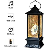 (Jesus) - Eldnacele Battery Operated Lighted Christmas Snowman Water Snow Glitter Globe Christians Lantern Decor Virgin Mary
