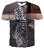 (ピゾフ) Pizoff Tシャツ 半袖 メンズ ネコ柄 虎柄 おもしろ ストリート 男女兼用 カットソー 夏服AL067-23-L