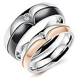Rockyu ジュエリー ブランド 人気 リング 結婚 婚約指輪 ペアリング メンズ ブラック ヨーロピアン トーリング キュービック・ジルコニア CZ チタン 指輪 14号