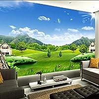 Ansyny カスタム3D写真の壁紙青空白い雲村の家自然風景壁画不織わらテクスチャ壁画壁紙3D-360X250CM