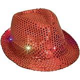 Bits and Piecesレッド点滅スパンコール帽子 – Light Up LEDパーティー帽子