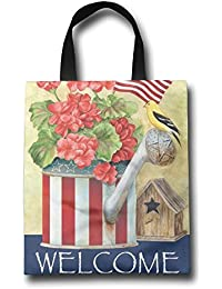 WACRDG Shopping Handle Bags,Happy Labor Day Personalized Tote Bag