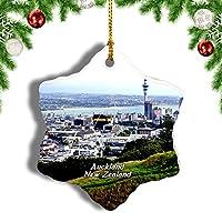 Weekinoニュージーランドマウントエデンオークランドクリスマスオーナメントクリスマスツリーペンダントデコレーション旅行お土産コレクション陶器両面デザイン3インチ