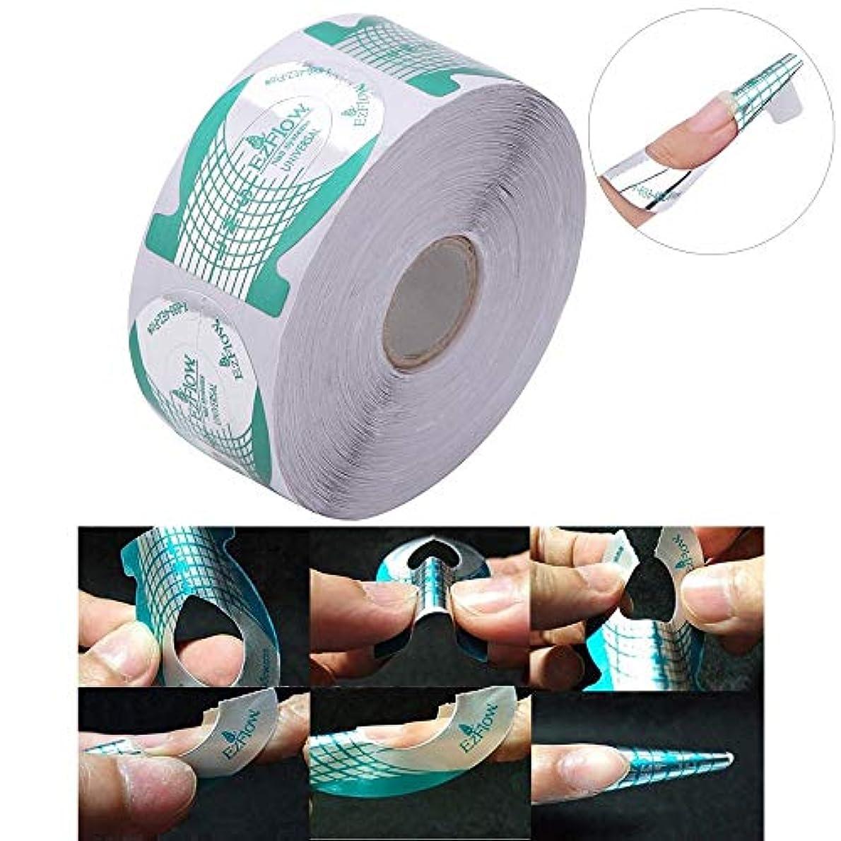 ストライド検出可能差し控える500pcs/roll Nail Art French Green Missile Shape Forms Acrylic Curve Polish UV Gel Extension Builder Guide Stencil...