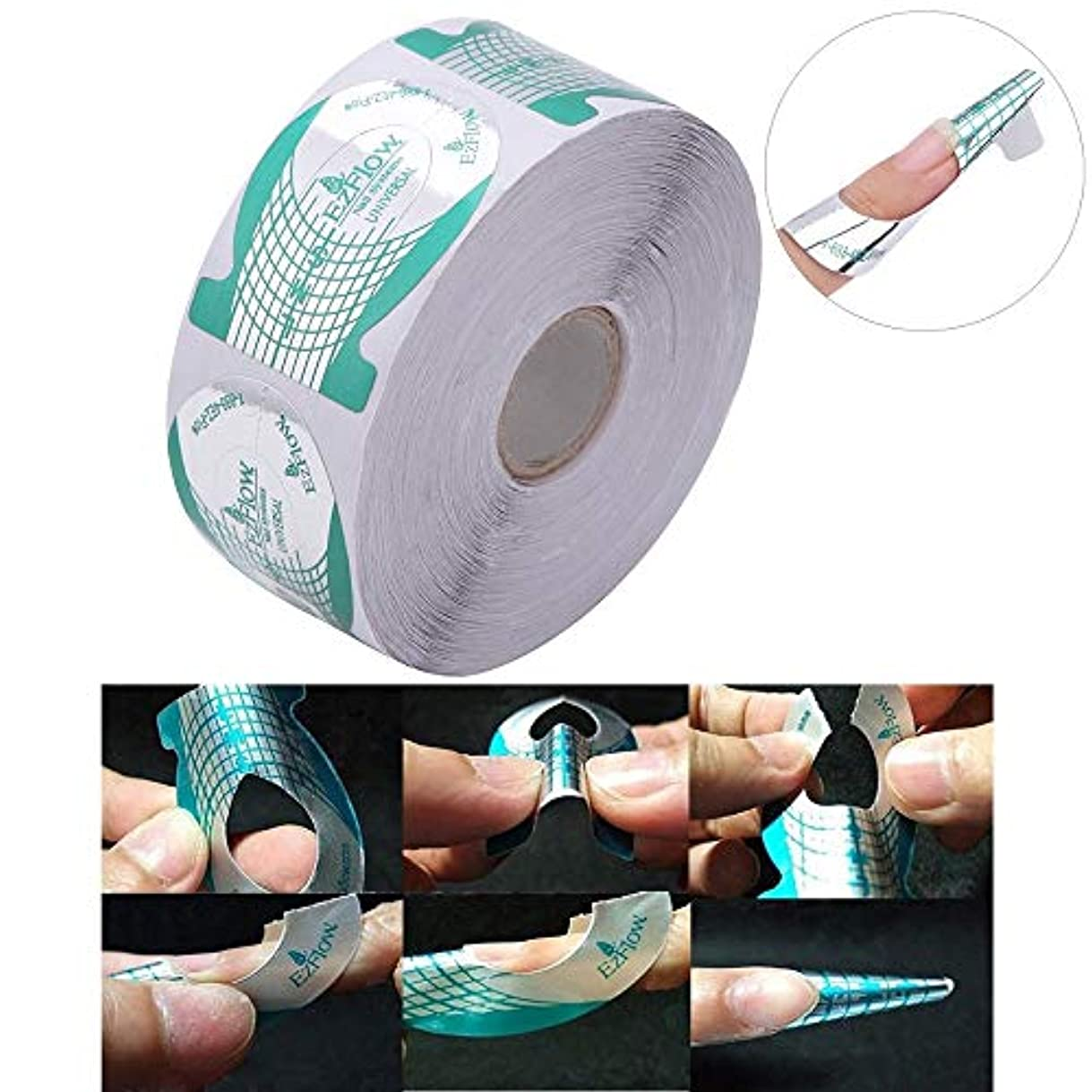 百万政策影響500pcs/roll Nail Art French Green Missile Shape Forms Acrylic Curve Polish UV Gel Extension Builder Guide Stencil...