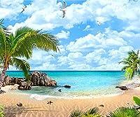 10x 8ft Seaside景色写真バックドロップClouds Blue Sky Palm Tree天然海洋風景写真ブース背景for Studio