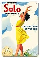 22cm x 30cmヴィンテージハワイアンティンサイン - ソロマーガリン - ビタミンと - 常に上質で新鮮な - ビンテージな広告ポスター c.1937