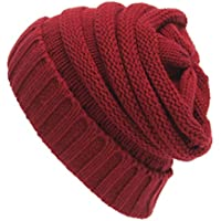 Auveach Women Knitted Hat Chic High Bun Ponytail Stretchy Knitted Beanie Skull Hat Winter Warm, Wine red
