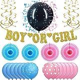 性別発表パーティーデコレーション用品 - リアルゴールドグリッター、ボーイズまたはガールズバナー、ブラックバルーン&紙吹雪 - 究極の27ピースパーティーセット