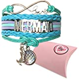 Mermaid Bracelet. Infinity Bracelet with Love Mermaids Message. Aquamarine Bracelet Comes with 2 Mermaid Charms. Ideal Gifts for Teens who Love All Things Mermaid for Underwater Theme Parties.