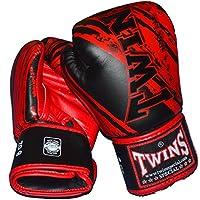 TWINS本革ボクシンググローブ ストライプ3 黒×レッド
