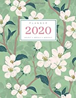 Planner 2020 Hourly Weekly Monthly: 8.5 x 11 Large Notebook Organizer with Hourly Time Slots | Jan to Dec 2020 | Flower Blooming Cherry Tree Design Green