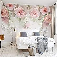 カスタム壁画壁紙3dローズフラワー水彩写真壁絵画ウェディングハウスリビングルームロマンチックなホーム装飾壁紙 幅 220cm * 高さ140cm A