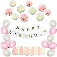 お誕生日 飾り付け セット バースデー HAPPY BIRTHDAY ガーランド ペーパーフラワー バルーン 風船 バナー タッセル バースデーデコレーションセット パーティー飾り付け (パープル)