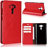 Asus ZenFone 3 Laser ZC551KL 5.5 inch - Protective 保護シェル グリップ Leather Case/Cover / Bumper/Skin / Cushion - Fashion Art Collection (Red)
