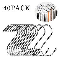 S字型フック 錆び防止 鍋やフライパンを吊るす 高耐久 ステンレススチール製 金属製ハンガー 自宅 オフィス キッチン用品 M-40Pack