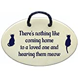 Cat Wall Sign, There 's Nothing Like Coming Home them meow。聞き、愛する人のためにセラミック壁飾り板をアメリカでハンドメイド30年以上。