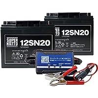 充電器+バッテリー(12V20Ah) 2個 セット■スーパーナットST1220E マリン バスボート エレキ 対応【エレキボート用バッテリー】